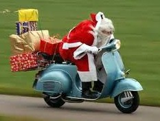 Here comes Santa - my style!  Reindeers can be unreliable these days.