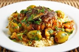 Moroccan Chicken with olives over Cous Cous