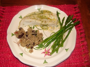 Halibut in a cilantro-sweet chili-lime butter