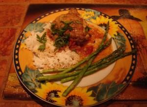with jasmine rice and asparagus
