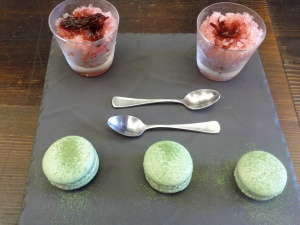 This is what else you can get. Granita with Hibiscus & Orange shaved ice & lovely Matcha Macaroons.