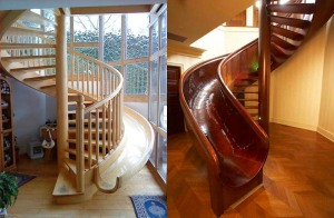 This looks like fun - stairs that SLIDE.