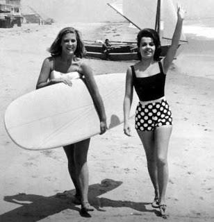 Annette Funicello vintage photo - images.  Do you think she was actually surfing?  Love the SUIT!