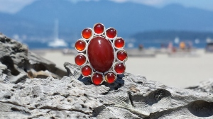 my purchase - a lovely cornelian/sterling ring from Fossil Grotto located Duncan, B.C.