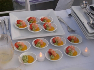 First course - prawn in mango & avocado compote.
