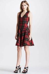 Alexander Mcqueen bias cut fit/flare plaid dress. Elle.com