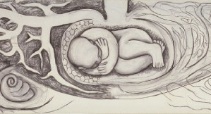 Infant in the Bulb of a Plant (Detroit Industry east wall), 1932, by Diego Rivera