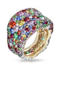 Faberge Emerald, Ruby and Tsavorite Ring, $38,104; faberge.com