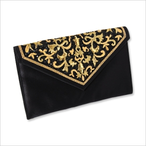Donald J Pliner Clutch Embroidered satin, $225; donaldjpliner.com.