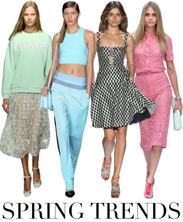 Longer skirts, midriff tops.  The midi is back.