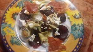 beet, feta, proscuitto, artichoke hearts, sweet onion
