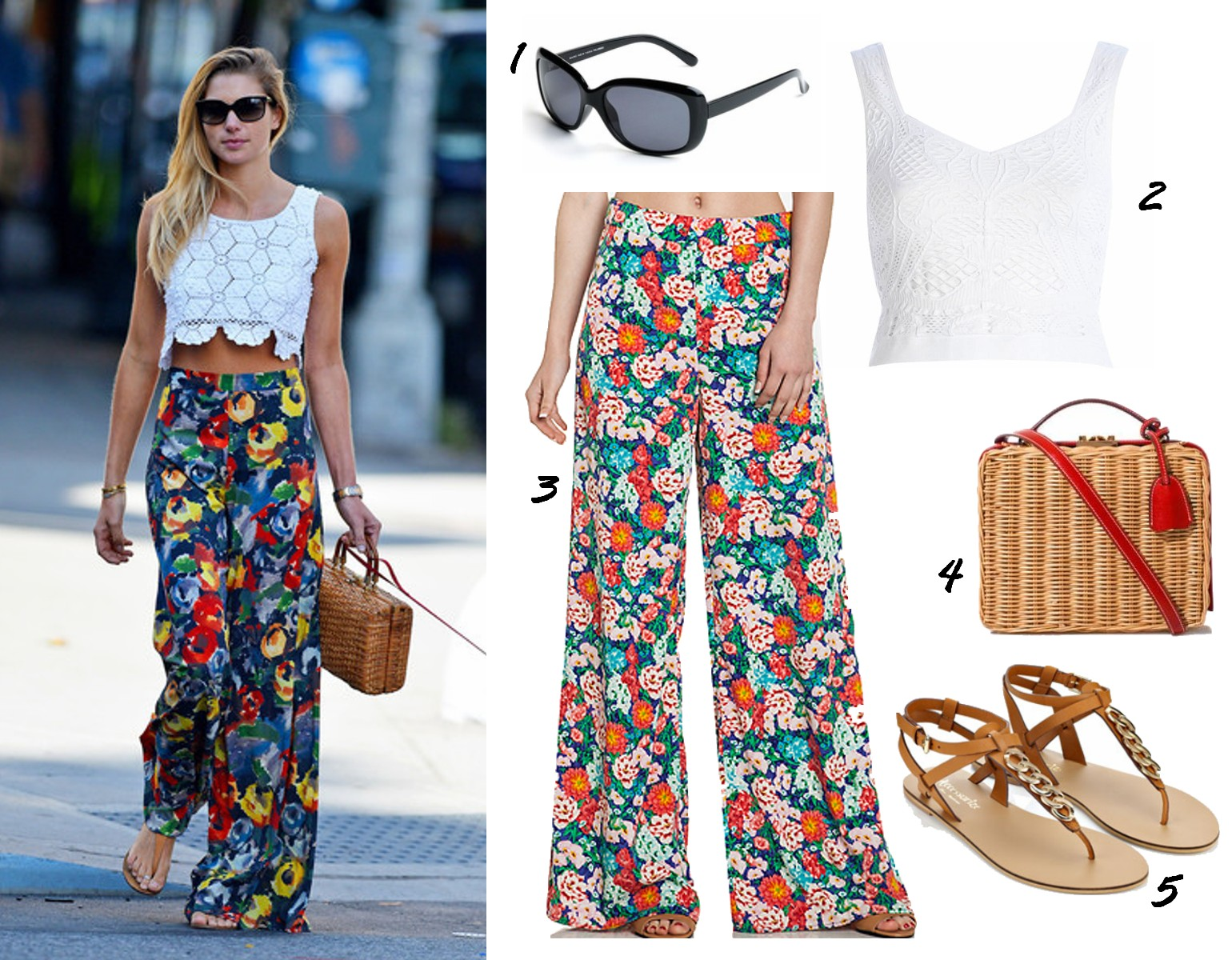 a54cd64faa96 ... a nice way to wear a crop top - with floral wide-legged pants.