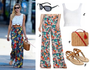 a nice way to wear a crop top - with floral wide-legged pants.