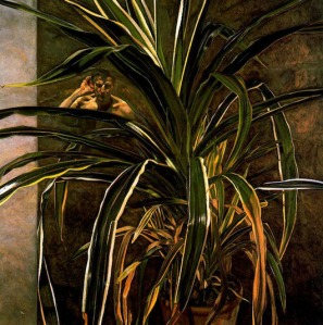 Lucian Freud - interior with plant reflection - listening self-portrait 1968