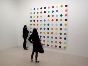 Damien Hirst's Spot Painting - Gagosian gallery, Paris. As the title promises, Spot Paintings features borrowed and newly created works of art featuring the UK-based artist's signature dotted paintings. Different colors, sizes, and shapes were all variations on the theme
