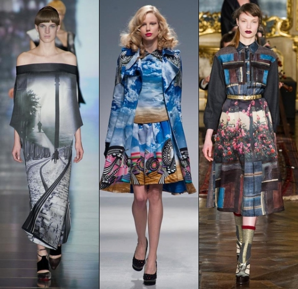 Digital prints at Mary Katrantzou, Manish Arora and Antonio Marras