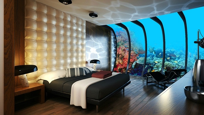 but then there's this hotel - the Manta Resort if you're looking for James Bond type experience of staying underwater.