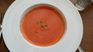 "A starter of gazpacho at ""Les Danzantes"" for the pre-fixe lunch.  Excellent!"