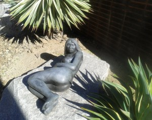 In the sculpture garden