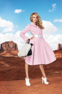 THE FASHION SHOOT Model Candice Swanepoel is captured by Terry Richardson at the Grand Canyon in Dior for Harper's Bazaar's August 2013 issue, proving gingham can work in almost any location.