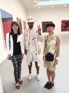 Antwaun Sargent, Jiajia Fei, and another visitor at 'Give Me Love'