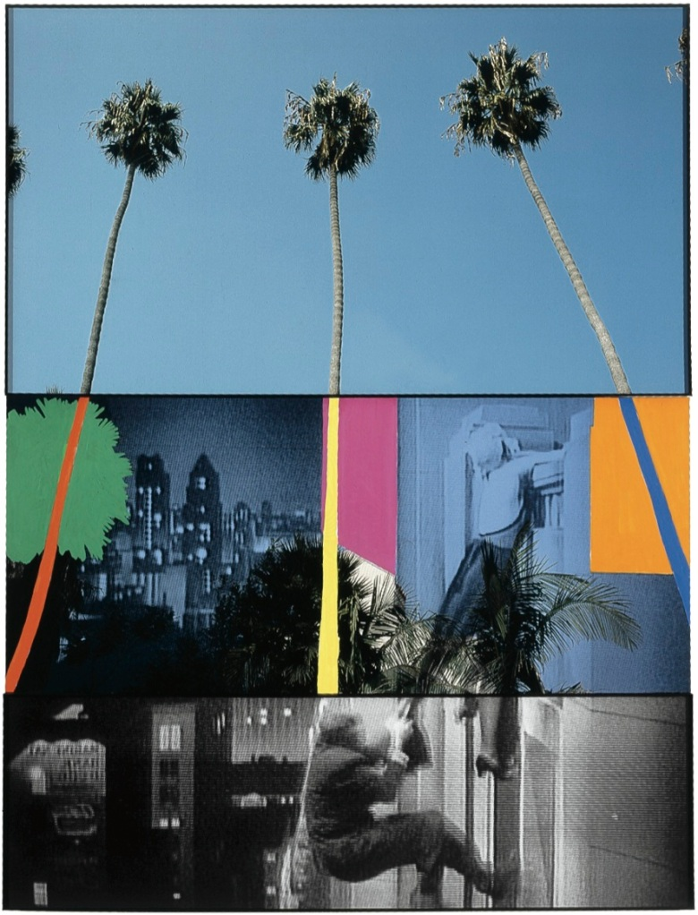 "John Baldessari's ""Overlap Series: Palms (with Cityscape) and Climbers,"" from Eli and Edythe Broad's collection.COURTESY MARIAN GOODMAN GALLERY"
