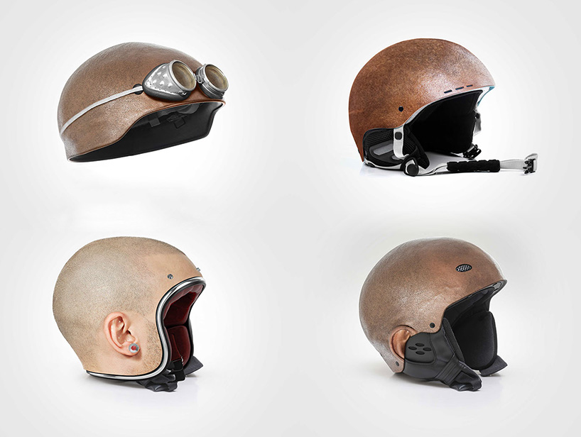 the four variations in the series of 'custom made helmets'