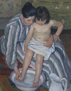 The American expat Mary Cassatt was among the many painters Durand-Ruel discovered. She focused on domestic scenes like The Child's Bath, 1893. Image courtesy of The Art Institute of Chicago: Robert A. Waller Fund