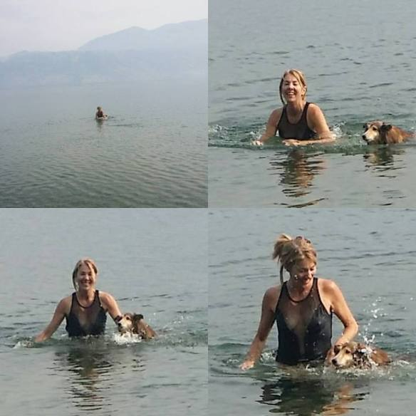 Lake Kalamalka, Penticton. Jia Jia realizing he could swim.