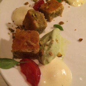 Olive oil cake with basil gelato