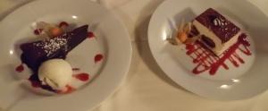 In house made Tiramisu & chocolate torte with ice cream in raspberry puree