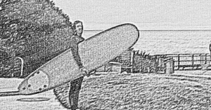 Surfer dude. My drawing from a from photo I took.