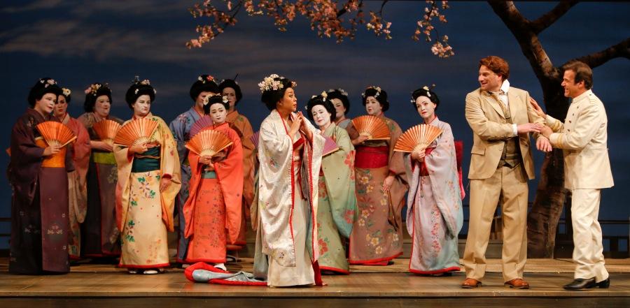 Mihoko Kinoshita as Cio-Cio-San (butterfly), Gregory Dahl as Sharpless, Richard Trotell as Pinkerton. Photo: Tim Matheson