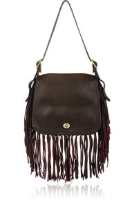COACH VINTAGE Circa-1972 Coach Black Leather Fringed Stewardess Bag $1,195 USD