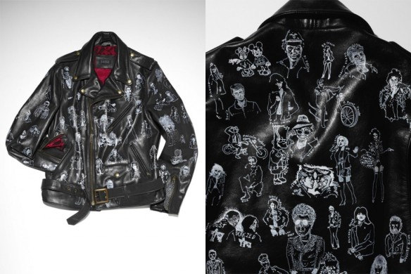 laying on the idea of the iconic black leather jacket, artist Rob Pruitt emblazoned his interpretation, 91 Notables Wearing Biker Jackets, with hand-drawn likenesses of those know for sporting the style, ranging from Marlon Brando and James Dean to Drake and Bart Simpson.