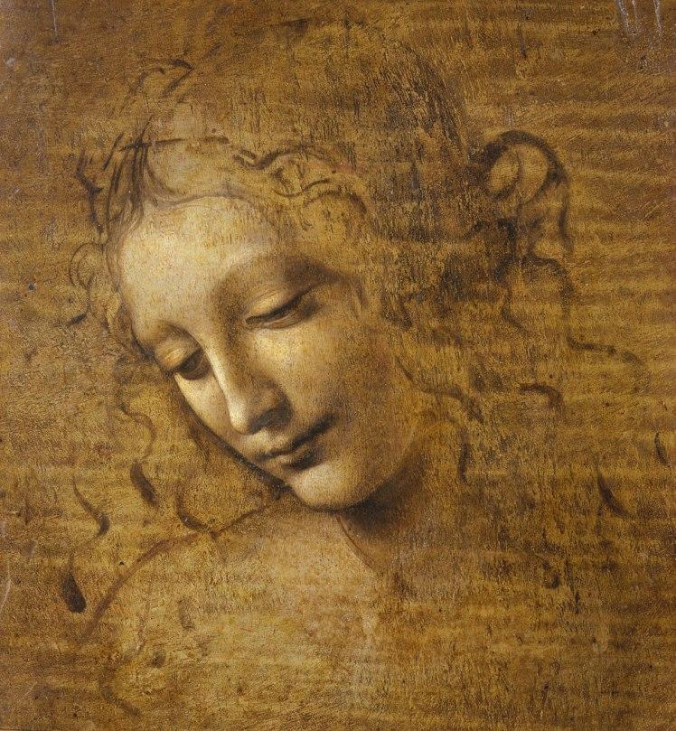 Leonardo da Vinci (Italian, 1452–1519) Head and Shoulders of a Woman (La Scapigliata) ca. 1500–1505 Oil, earth, and white lead pigments on poplar 9 3/4 × 8 1/4 in. (24.7 × 21 cm)