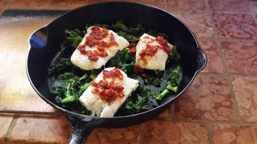 Halibut over Kale with Sundried Tomatoes
