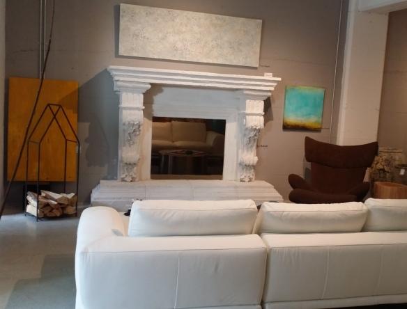 La Carinthia Mirrored Fireplaces. Italian Leather Sofas.
