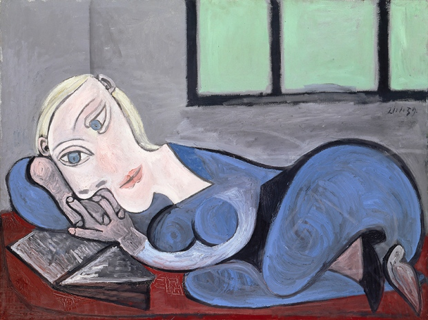 Femme couchée lisant, 1939, oil on canvas. This subject in this piece is Picasso's last wife Jacqueline Roque.
