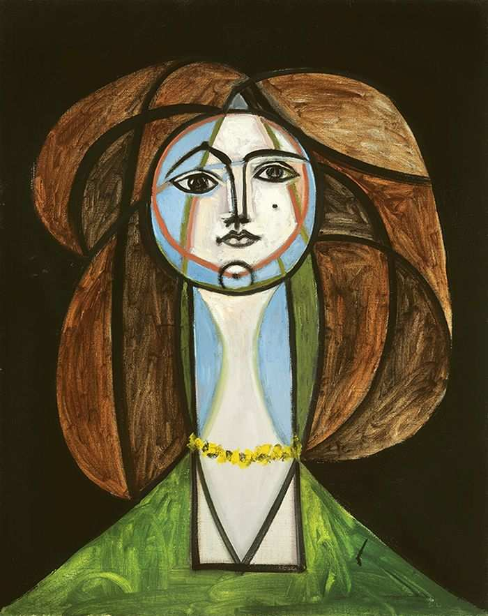 Femme au collier jaune, oil on canvas, 1946 by Pablo Picasso