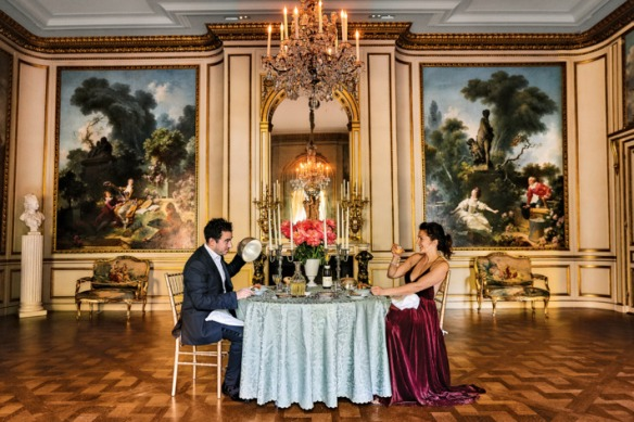 Daniel Rose and Marie-Aude, Styling by Diana Tsui. Suit, shirt, and shoes by Tom Ford. Dress by Ralph Lauren Collection. Shoes by Oscar de la Renta. Tablecloth by E. Braun & Co. Candelabras by Lynn Field at Bergdorf Goodman.Photo: Bobby Doherty/New York Magazine
