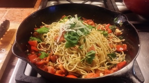 Spaghetti with fresh & sundried tomatoes, parmesan & parsley. Secret is in the spices & truffle oil.