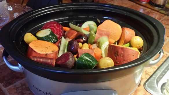 Rainbow of slow-cooked Veggies