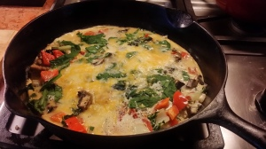 Free-range eggs, spinach, mushroom, red pepper, feta.