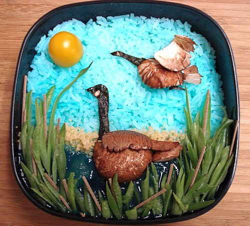 Canadian Geese. Yellow pear tomato, rice, portobello mushrooms, sesame seeds (as eyes), couscous, pear puree, green beans, and soba noodles.