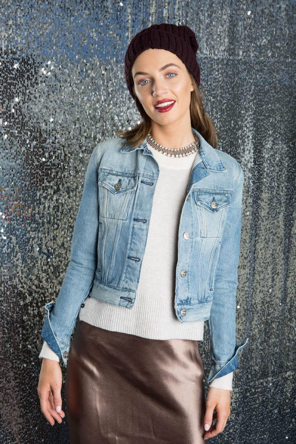 Dressed-Up Denim Transition your jeanjacket to winter by layering it overcashmere. Elevateit with a champagne maxi skirt and ourSoia & Kyo knit beanie for date night.