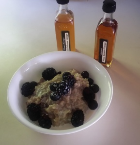 Oatmeal topped with berries & two new balsamic toppings