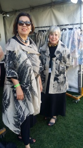 Vancouver designer  and textile artist Joanna Staniszkis (r) & Joanne wear her  beautiful creations.